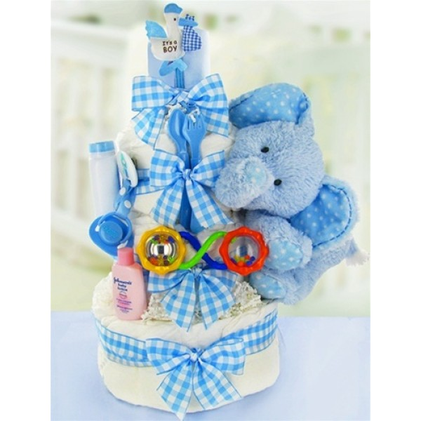 Gingham & Giggles Three Tier Diaper Cake